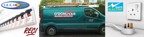 Paddy O'Donovan Electrical Contractor, Kinsale, Co. Cork  for all electrical installations, servicing & repair. Member of the Association of Electrical Contractors of Ireland, Register of Electrical Contractors ensuring that you enjoy Safe Electric instal